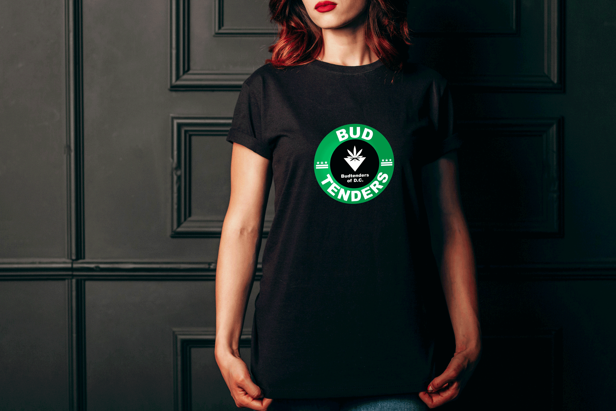 budtenders of dc background home page woman red lipstick logo on shirt